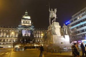 Wenceslas Square at night, Prague